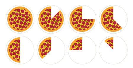 Slice of pizza diagram infographics set. Pieces margherita. The whole round and its parts. Isometric view vector illustration. Fast food.