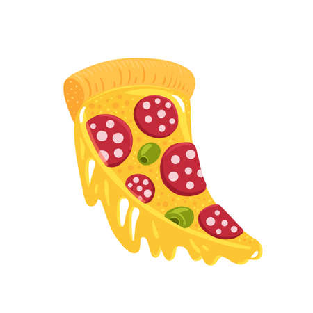Slice of pizza with cheese. Hand drawn color drawing illustration. Fast food.