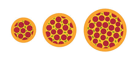 Pizza sizes progression. Vector infographic illustration. Isometric view. Small, medium and large.