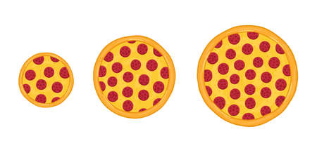 Pizza sizes. Hand drawn. Vector infographic illustration. Small, medium and large.