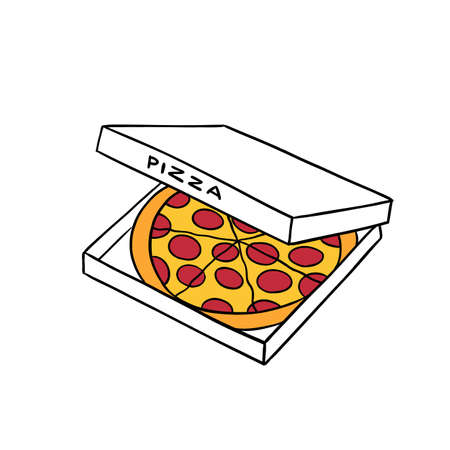 Pizza in a box. Hand drawn sketch. Vector illustration. Fast food.