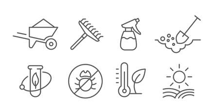 Agriculture and gardener. Growing plants. Set of icons. Sowing seeds. Vector contour line.