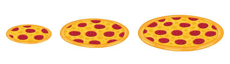 Pizza sizes. Vector infographic illustration. Isometric view. Small, medium and large.