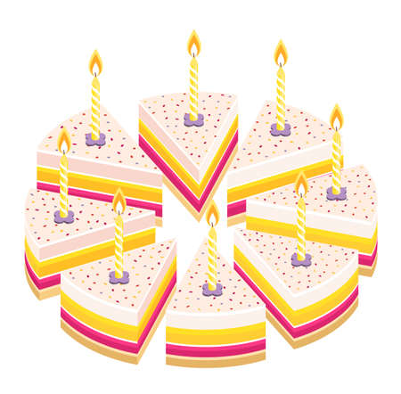 Pieces of pie cake with candles. Birthday celebration. Cut whole cake and its slice parts split up. Isometric view. Vector illustration set.