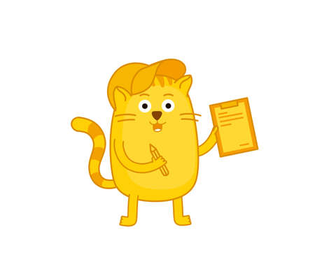 Cat courier delivery service contract. Pet mascot character. Vector illustration. Ginger cat. Illustration