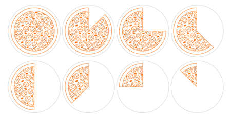 Pizza time. Eating process. Diagram infographics set. The whole round and its parts. Vector line outline illustration. Fast food. Illustration