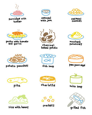 Drawn dishes. Menu icon set. Porridge, soup and pie. Hand drawn sketch for infographic set.