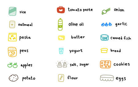 Cooking ingredients icons set. Butter, flour and eggs. And other food products. Icon for recipe or infographic. Hand drawn sketch. Vector.