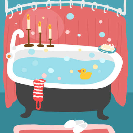 Bathtub filled with water. Duck with a washcloth and candles. Hand drawn cartoon sketch. Illusztráció