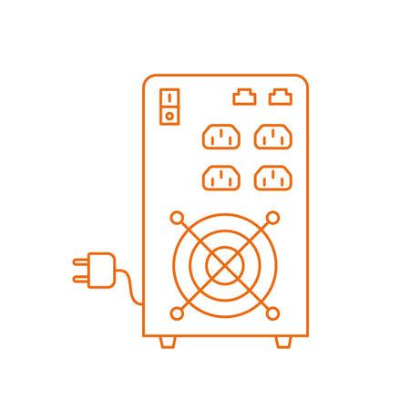 UPS. Uninterruptible power supply. Electrical apparatus. Input power source when mains power fails. Vector line. Open paths outline.