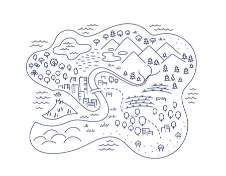 Island locality area map sketch. Isle city and village. Map for board game. Hand drawn vector line. Open paths editable outline.