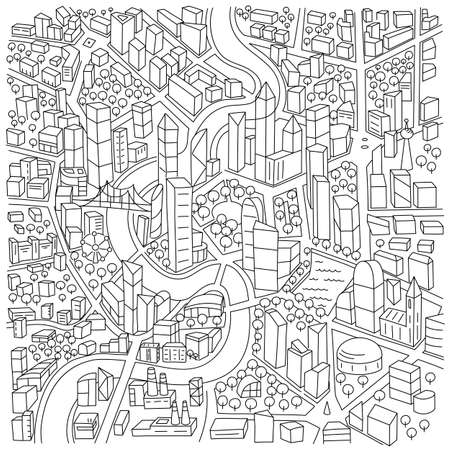 City district locality area sketch. City Map. Hand drawn flat vector line.
