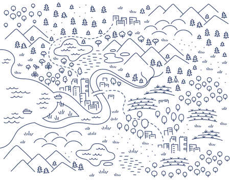 Locality area map sketch. City and village. Map for board game. Hand drawn vector line. Open paths editable outline. Illusztráció