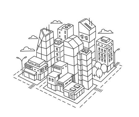 City district square. Locality area sketch. Hand drawn vector line. Isometric view. Contour illustration.