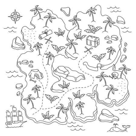 Treasure Island. Pirates Isle adventure. Sea ship. Board game chest map. Vector line. Open paths. Editable outline. Illustration