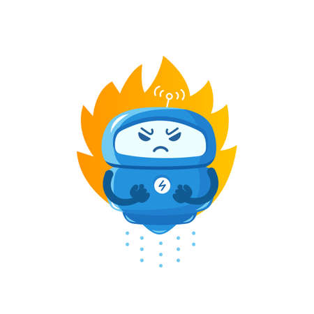 Angry robot. Evil warrior android character. With blazing fire. Fatal exception error. Deadline. Vector illustration.