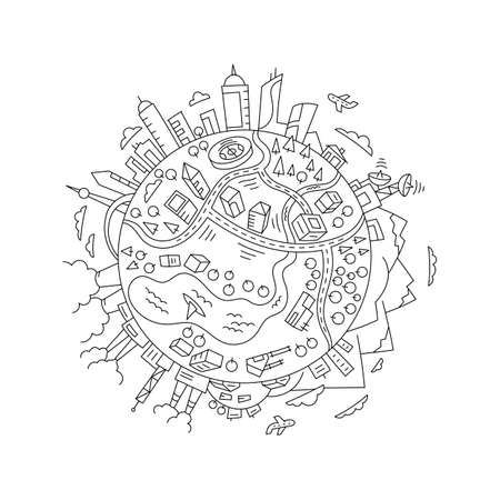 Round sketch world planet Earth. The city, the mountains the factories and buildings. Hand drawn vector line. Open paths. Editable stroke thickness. Illustration