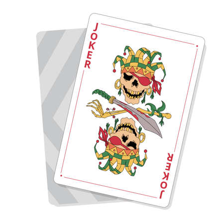 Playing cards joker. Pirate skull with eye patch. Good luck in the game. Illustration