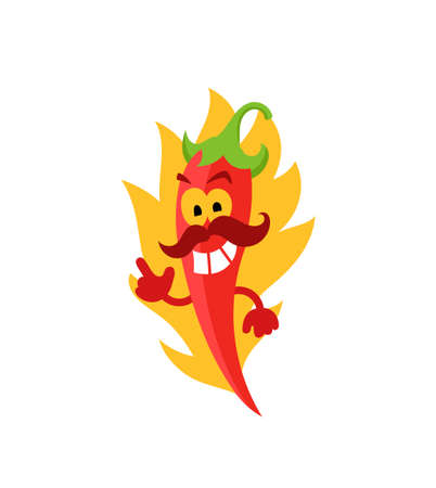 Mexican red hot chili pepper. With mustache. Very spicy food. Burns in a flame. Mascot character. Cayenne chile pepper. Illustration