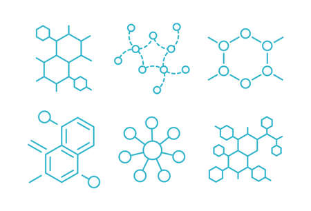 Molecule of the formula. Hormone structure. The substance. Set of scientific icons. Open paths. Editable stroke thickness. Vector outline contour line. Illustration