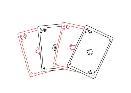 Four of a kind. Poker quads. Four aces. Good luck in the game. Playing cards. Hand drawn sketch line.