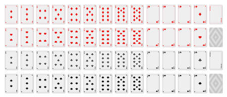 Playing cards. Set of template. Printable. Empty blank for your design. Poker kit sample. For game. Vector illustration. Illustration