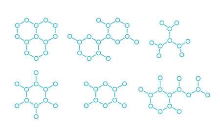 Molecule. Hormone hexagon structure. The substance formula. Open paths. Editable stroke thickness. Vector outline contour line. Illustration