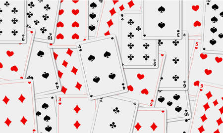 Playing cards background. Cards of different suits. Template for your design. Game. Vector illustration.