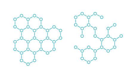 Hormone hexagon structure molecule. The substance chemical formula. Open paths. Editable stroke. Vector outline contour line.