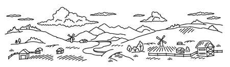 Rural landscape. Village field and the hills. Hand drawn sketch. Countryside. Contour vector line. Horizontal banner. River and bridge.