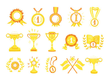 Awards cups and medals. Icon set, hand-drawn flat style. First place, top achievement. Yellow gold and orange color.