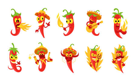 Pepper character set. Very spicy food. Burns in a flame. Cayenne chili red hot pepper. Devil with pitchfork.