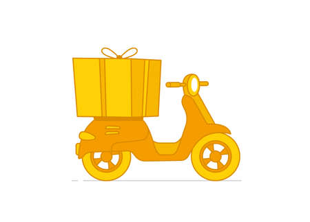Box on a motorbike. Delivery service scooter. Pizza and food delivery. Yellow and orange color. Vector illustration.