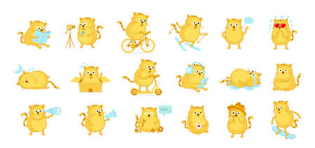 Cat big set of stickers. Mascot character. Active lifestyle pet situation. Music headphones. Detective look. Love coffee. Cartoon vector.