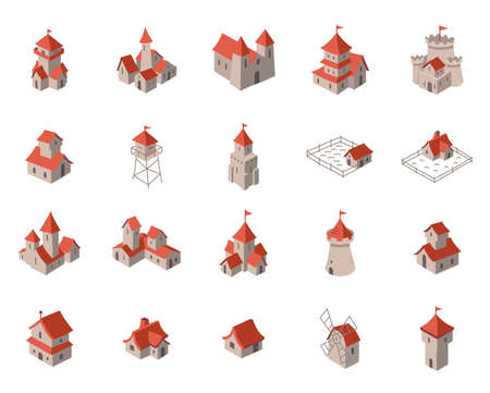 Medieval city icon set. Buildings architecture. Fort tower. Isometric view. Vector Illustration.
