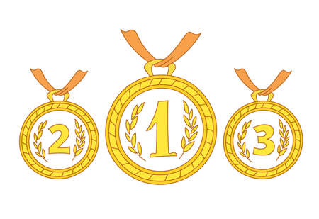 Gold medals. First second and third place. Competition award. Hand drawn vector. Editable stroke. Outline contour line.