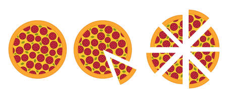 Slices of pizza. Different sizes. Infographics set. Cut pieces. Vector illustration. Fast food.