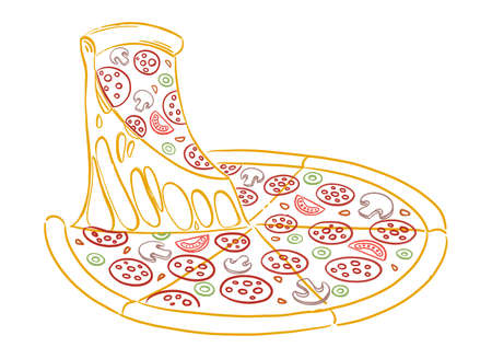 Slice of pizza with cheese. Sketch hand drawn color line illustration. Fast food. Illustration