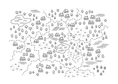 Village locality map. Rural areas. Building and trees. Hand drawn sketch vector line. Open paths. Editable stroke.