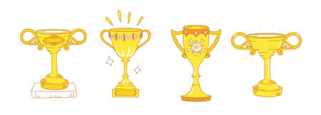 Gold cup set. First place. Competition award trophy. Sport achievement. Hand drawn vector. Editable stroke. Outline contour line.