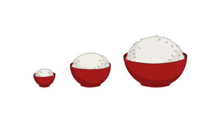 Set a plate of rice size. Amount of food. Small medium and large bowl rice. Hand drawn. Vector illustration. Illustration