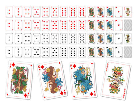 Set playing cards. Printable. Poker game kit. Vector illustration. Unique drawings. 向量圖像