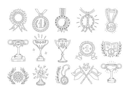 Awards cups and medals. Icon set, hand-drawn flat style. First place, top achievement. Hand drawn sketch outline contour line. Open paths. Editable stroke.