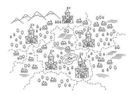 Kingdoms on the map. State areas. Castles and village. Hand drawn sketch vector line. Open paths. Editable stroke. 向量圖像