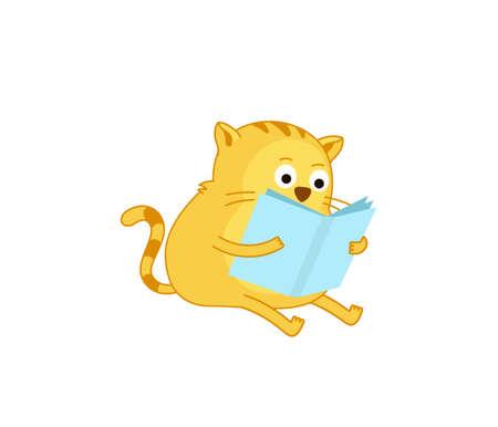 Cat reading a book. Smart pet. Learning sticker. Education. Vector flat illustration. 向量圖像