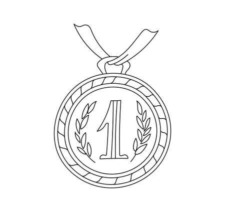 Medal. First place. Competition award. Hand drawn sketch outline contour black line vector. Editable stroke. Outline contour line.