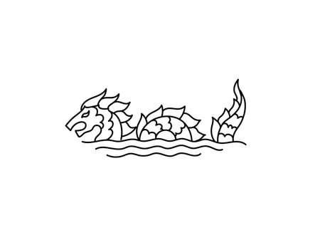 Water dragon tattoo. Fantasy style. Logo. Black line. Vector outline contour. Open paths. Editable stroke. Sea snake. 向量圖像