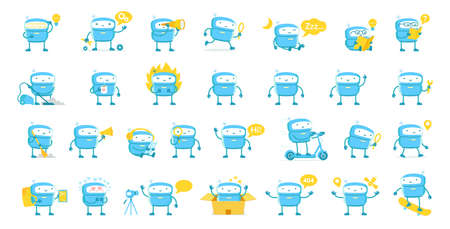 Little blue Robot mascot character big set. All tasks. Cute Robot stickers. Cartoon flat vector illustrations. Artificial Intelligence. Support service-center. Chat bot.