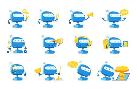 Robot mascot character set. Support service-center. Chat bot. All tasks. Cartoon flat vector illustrations. Artificial Intelligence. 向量圖像