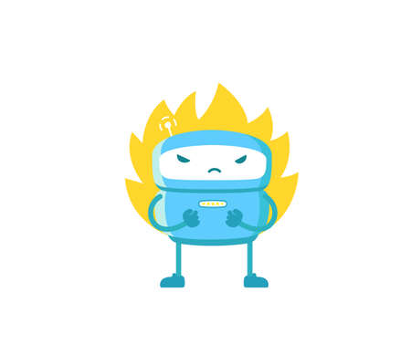 Angry robot. Deadline. Evil warrior android character. With blazing flame fire. Fatal exception error. Vector illustration.